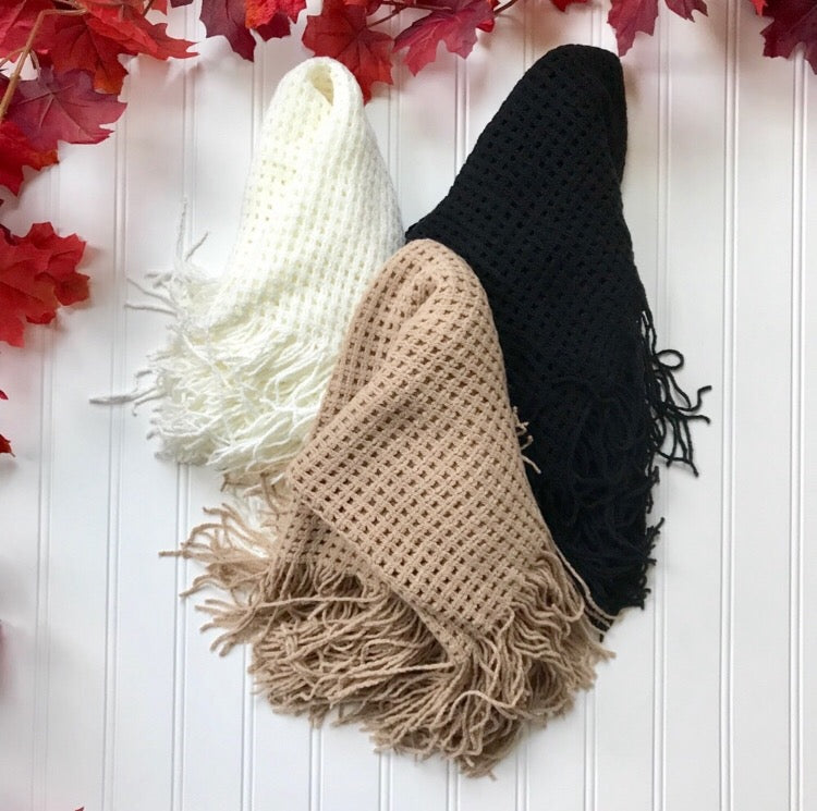 Fringed Infinity Scarf  - The Peach Mimosa
