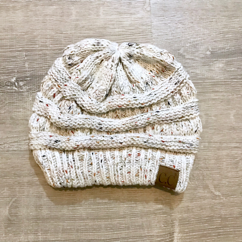 Chill Connection Ivory Knit Beanie  - The Peach Mimosa