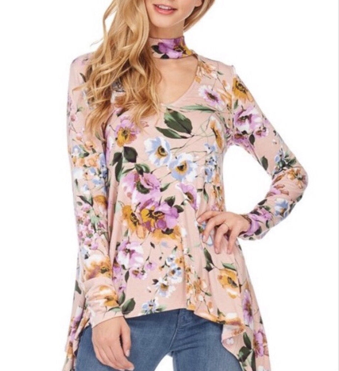 Beautiful Heart Floral Choker Top  - The Peach Mimosa