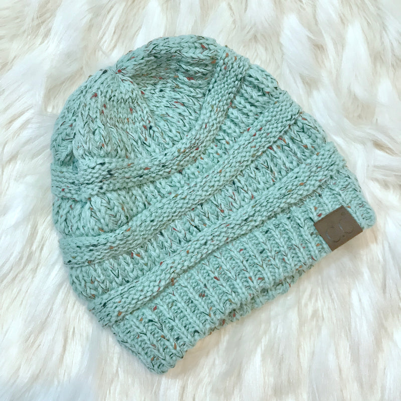 Chill Connection Mint Knit Beanie  - The Peach Mimosa