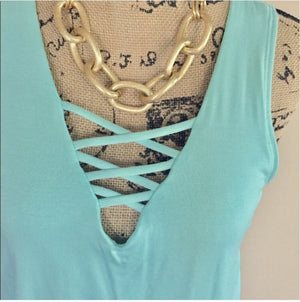 Kristin Lace Trim Tank  - The Peach Mimosa