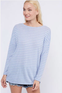 Striped Twist Back Top  - The Peach Mimosa