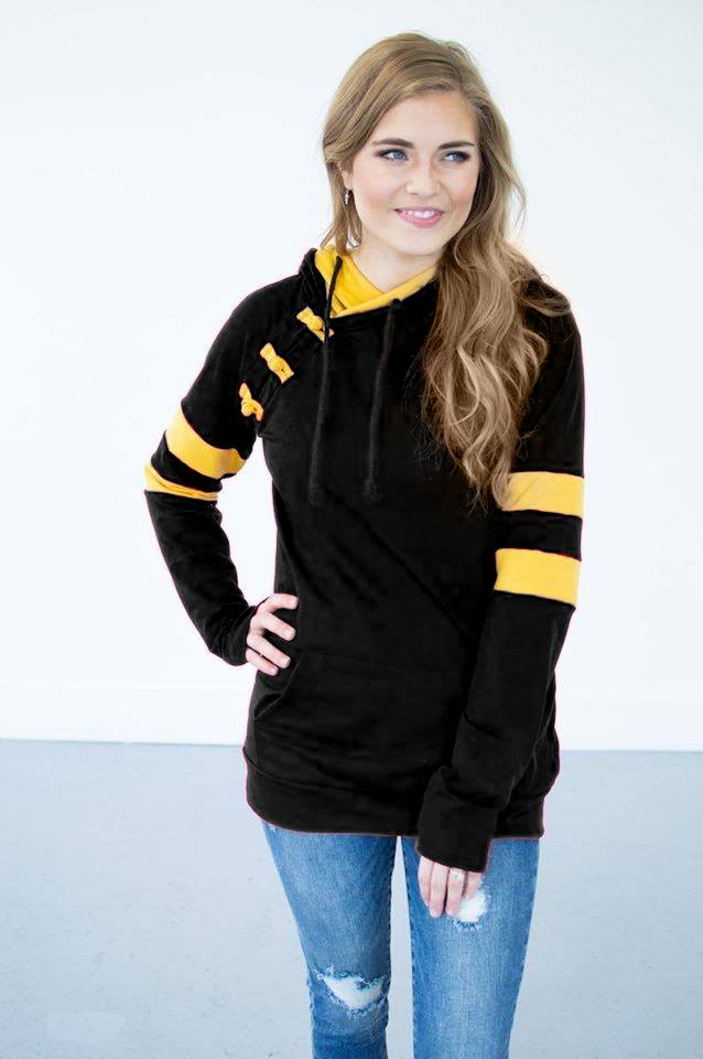 Black and Gold Gameday Hoodie-Women & Kids