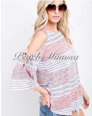Weekend Escape Striped Top  - The Peach Mimosa