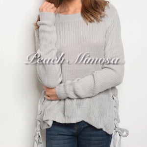 Already Home Side Tie Sweater  - The Peach Mimosa