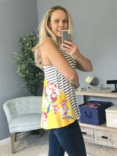 Load image into Gallery viewer, Afternoon Sunshine Floral Striped Tank  - The Peach Mimosa