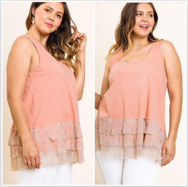 Balmy Night Lace Trim Tank  - The Peach Mimosa