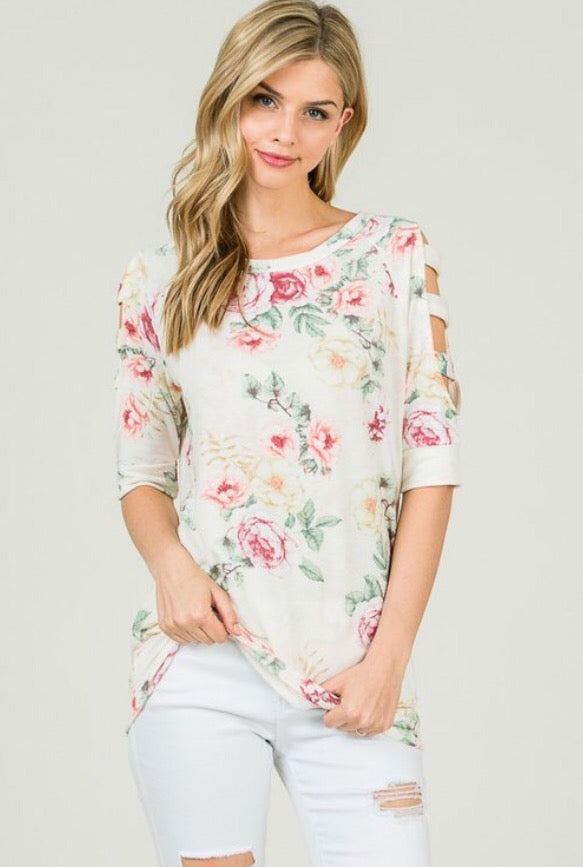 Chloe ladder sleeve top  - The Peach Mimosa
