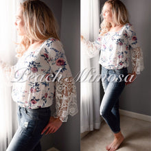 Load image into Gallery viewer, Walk in the Meadow lace trim top  - The Peach Mimosa