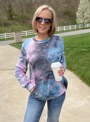 Never Look Back Tie Dye Pullover