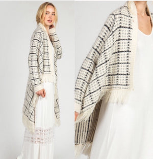 Fuzzy Fringe Cardigan  - The Peach Mimosa
