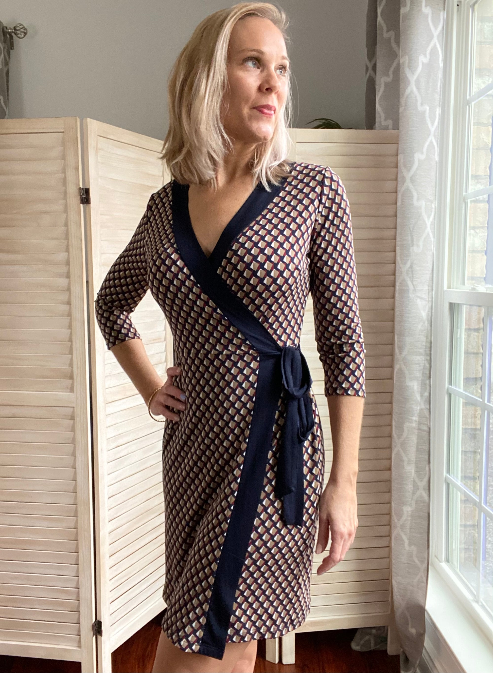 Diamond Print Wrap Dress