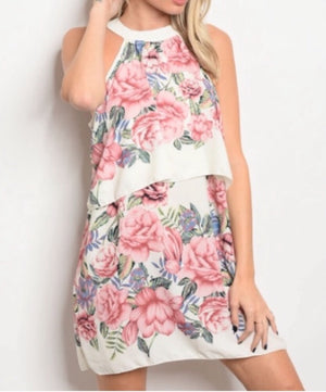 Celestial Rose Halter Dress  - The Peach Mimosa