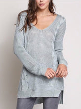 Load image into Gallery viewer, Where My Heart Leads Sweater-Aqua  - The Peach Mimosa