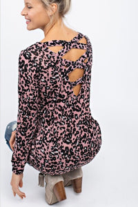 Allie Leopard Top  - The Peach Mimosa