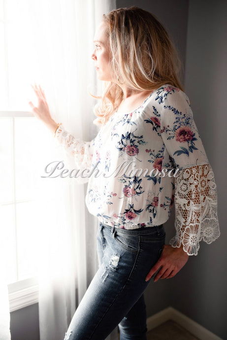 Walk in the Meadow lace trim top  - The Peach Mimosa