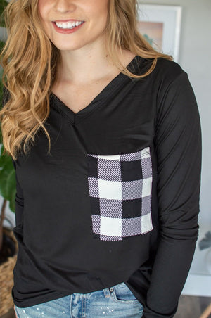 Buffalo Plaid Pocket Tee | Black & White