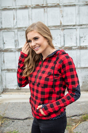 Buffalo Plaid Dot Half Zip- Now available in Kids!