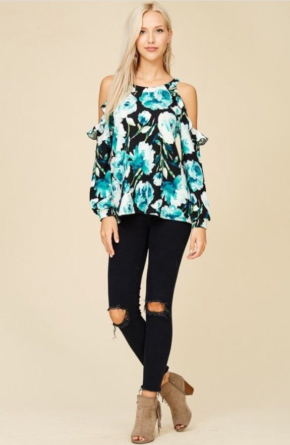 Teal Tropics Top  - The Peach Mimosa