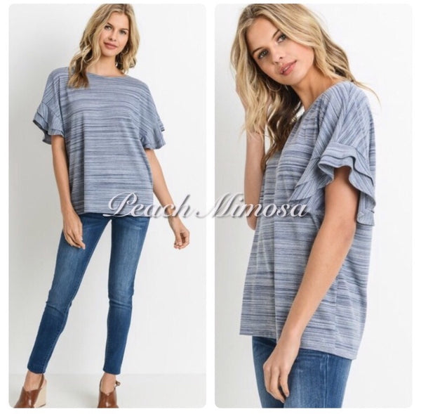 Forever Love denim ruffle sleeve top  - The Peach Mimosa