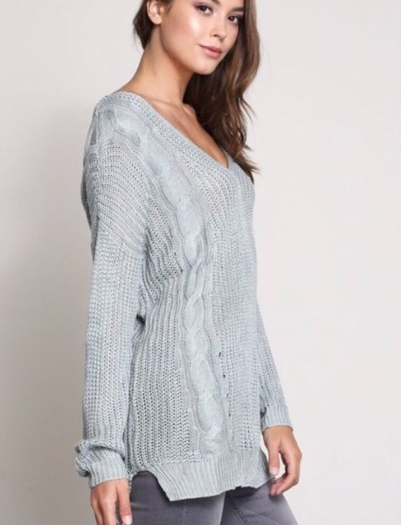 Where My Heart Leads Sweater-Aqua  - The Peach Mimosa