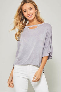 Gisele Mineral Wash Top  - The Peach Mimosa