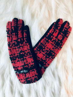 Red Checkered Gloves  - The Peach Mimosa