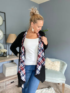 Plaid Contrast Cardigan