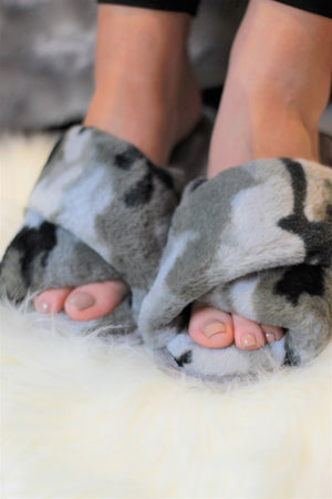 Ultra Fuzzy Camo House Shoes