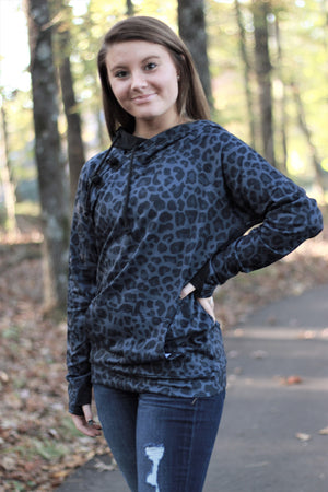 Midnight Leopard Hoodie-Adult and Kids