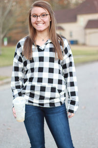 Sadie Kangaroo Top | Black and White Buffalo Plaid
