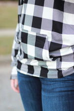 Load image into Gallery viewer, Sadie Kangaroo Top | Black and White Buffalo Plaid