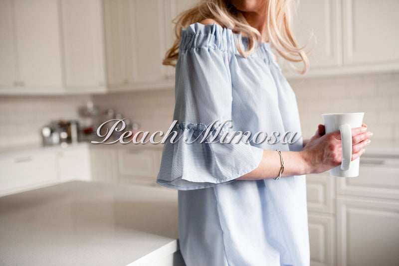 Pinstripe Off Shoulder Bow Top  - The Peach Mimosa