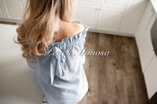 Load image into Gallery viewer, Pinstripe Off Shoulder Bow Top  - The Peach Mimosa