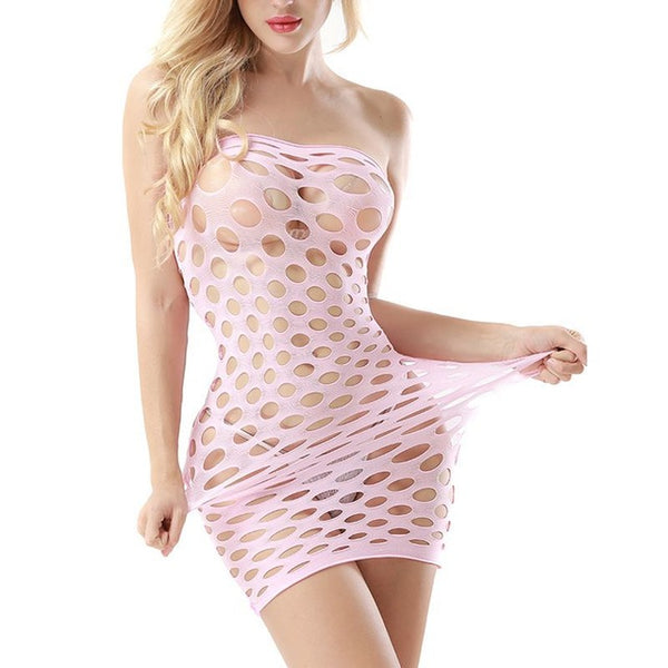 Women's Hollow Out Mesh Baby Doll Lingerie