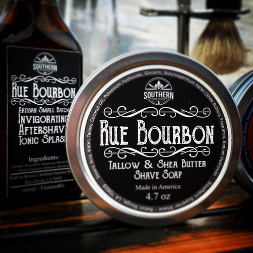 Rue Bourbon Gift Set with boar hair shave brush