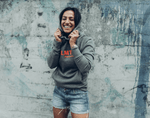 The hoodie for women - Grey / Flash-Red