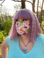 Monster Face Mask in Pink--handmade, 100% cotton