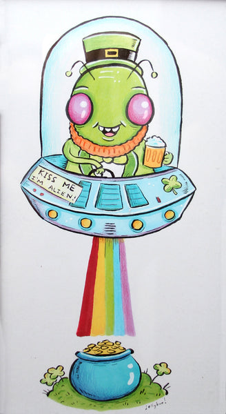 """Little Green Man"" 6.5x12 original illustration"