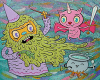 """Catbaticorn vs. the Slime Wizard"" limited edition 12 x 15 canvas print"