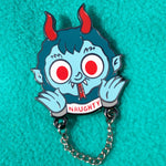 Blue Krampus hard enamel pin