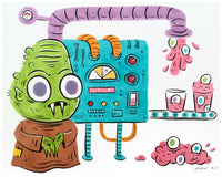 """Monster Milkshake Machine"" 8x10 original illustration"