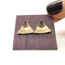 Load image into Gallery viewer, Brass Triangle Earrings