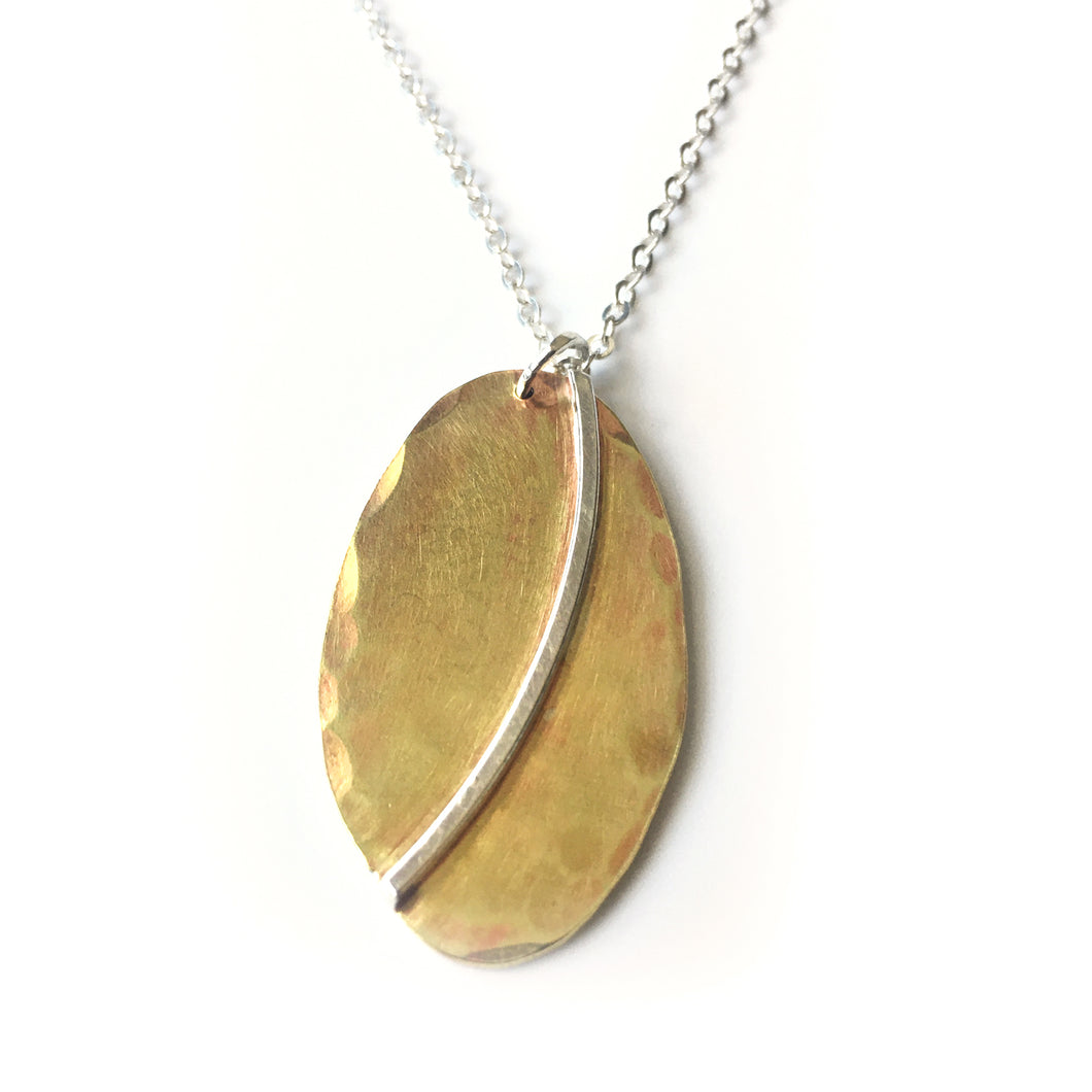 Brass Oval Pendant with Sterling Accent
