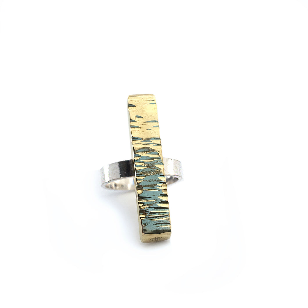 Textured Brass Bar Statement Ring