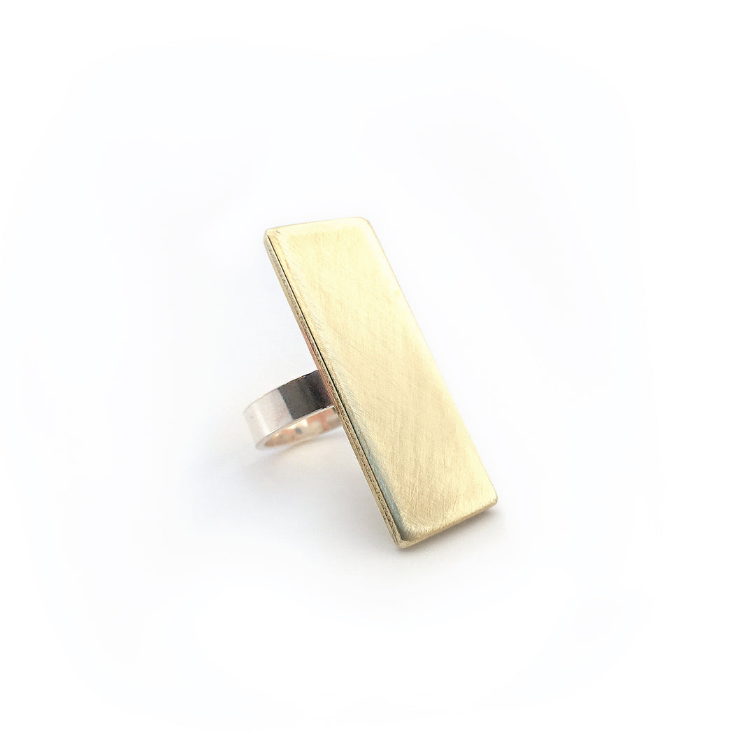 Brushed Brass Bar Statement Ring