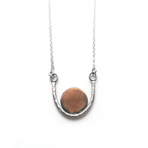 Copper Circle and Silver Curve Necklace