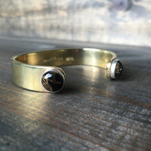 Load image into Gallery viewer, Copper Obsidian & Brass Cuff