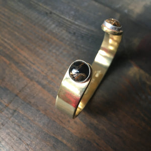 Copper Obsidian & Brass Cuff