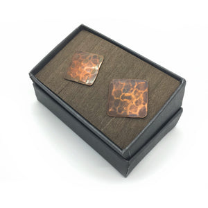 Square Pebble Copper Cuff Links